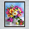 Diy Diamond Painting Cross Stitch Colorful Floral Flower Vase Arrangement Embroidery Oil Painting Resin Round Full (30 x 40 cm)