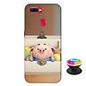 Ốp lưng nhựa dẻo dành cho Oppo F9 in hình Heo Con Nằm Hộp - Tặng Popsocket in logo iCase - Hàng Chính Hãng