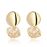 Women Fashion Chic Earring Gold Color Unique Earrings Round Hollow Pearl Pendant Exquisite Ear Jewelry