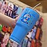 Ly giữ nhiệt Thái Lan 900ml , hình doremon màu xanh ,kèm ống hút, túi đeo, cọ rửa