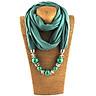 Fashionable Elegant Pendant Scarf Necklace Bohemia Chiffon Scarves Pendants Jewelry Foulard Female Accessories For Women - Green