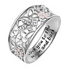 Love You To The Moon And Back Hollow Flower Rhinestone Inlaid Bride Wedding Ring