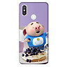 Ốp lưng nhựa cứng nhám dành cho Xiaomi Mi 8 in hình Heo Con Ăn Trái Cây