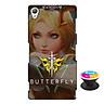 Ốp lưng nhựa dẻo dành cho Sony Z3 in hình Butterfly - Tặng Popsocket in logo iCase - Hàng Chính Hãng