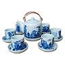 Bộ ấm chén men lam số 1 cỡ lớn gốm sứ Bát Tràng (bộ bình uống trà, bộ bình trà)