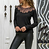 Sexy Women Top Blouse Sheer Lace Mesh Long Sleeve O-Neck Solid Slim T-Shirt