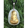 Dây chuyền Phật Bất Động Minh Vương Mặt Ngọc Nerphrite Mạ vàng 24K  Cho Nam Mệnh  Hỏa  TEN1