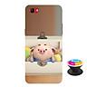 Ốp lưng nhựa dẻo dành cho Realme 1 in hình Heo Con Nằm Hộp - Tặng Popsocket in logo iCase - Hàng Chính Hãng