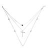 Chic Multi-layer Thin Cross Heart Pendant Necklace Women Neck Chain Decor Gift