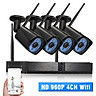 H.265 Standard Wifi NVR With Camera Kit 4CH Channel HD 1080P Wifi NVR Network Video Recorder + 4pcs 1080P Wireless Wifi Weatherpro