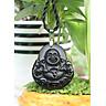 Mặt dây chuyền Đá Phong Thủy  Đá Núi Lửa Obsidian Phật Di Lặc  To   BAN1