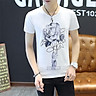 Cotton Summer Fashion Men T Shirt Short Sleeve O-neck Couples Tops Lovely Painting Printed T Shirts CT-087