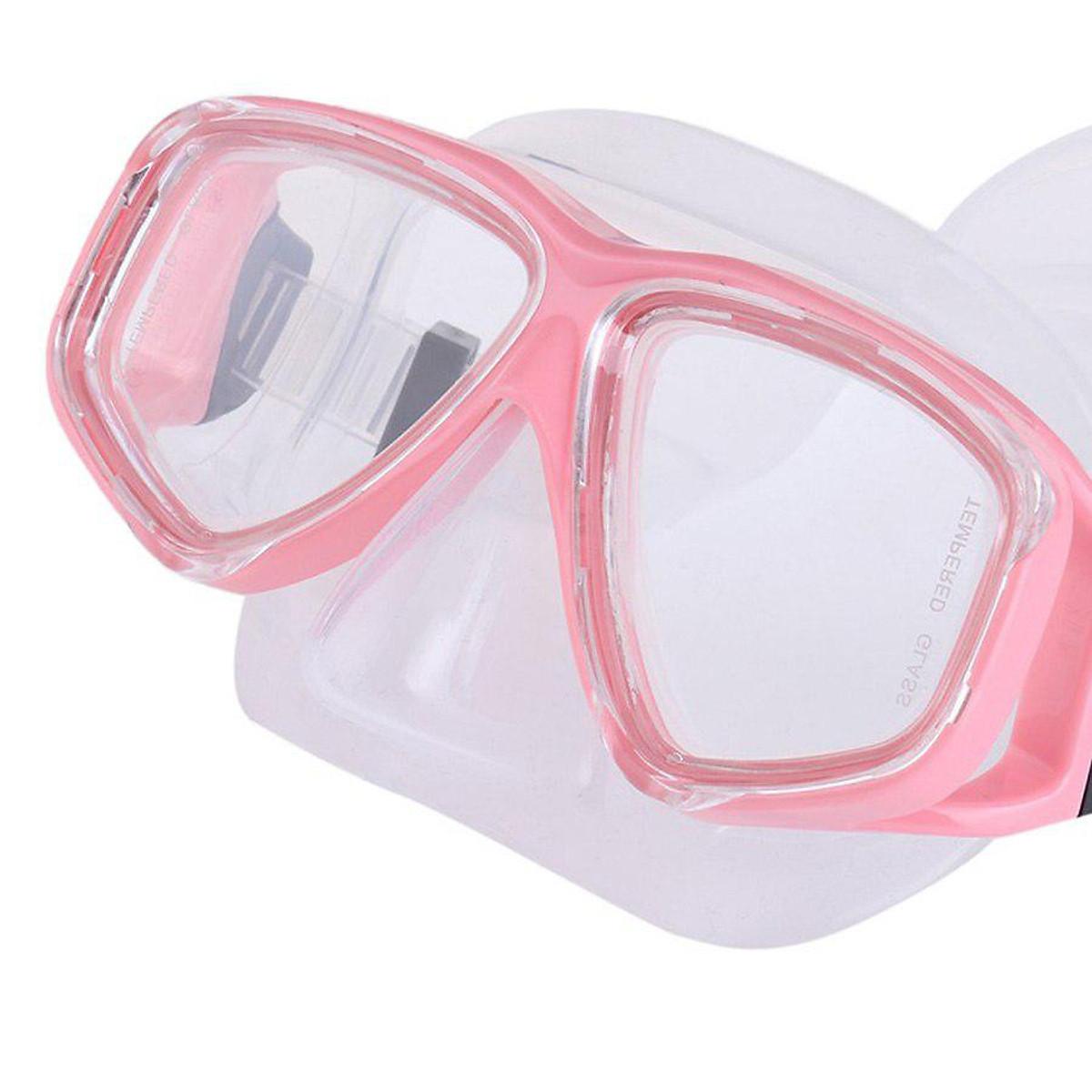 Kính Lặn, Mặt Nạ Lặn Biển Mắt Kính Cường Lực Cao Cấp POPO NormalMask-Pink - Hồng - 1