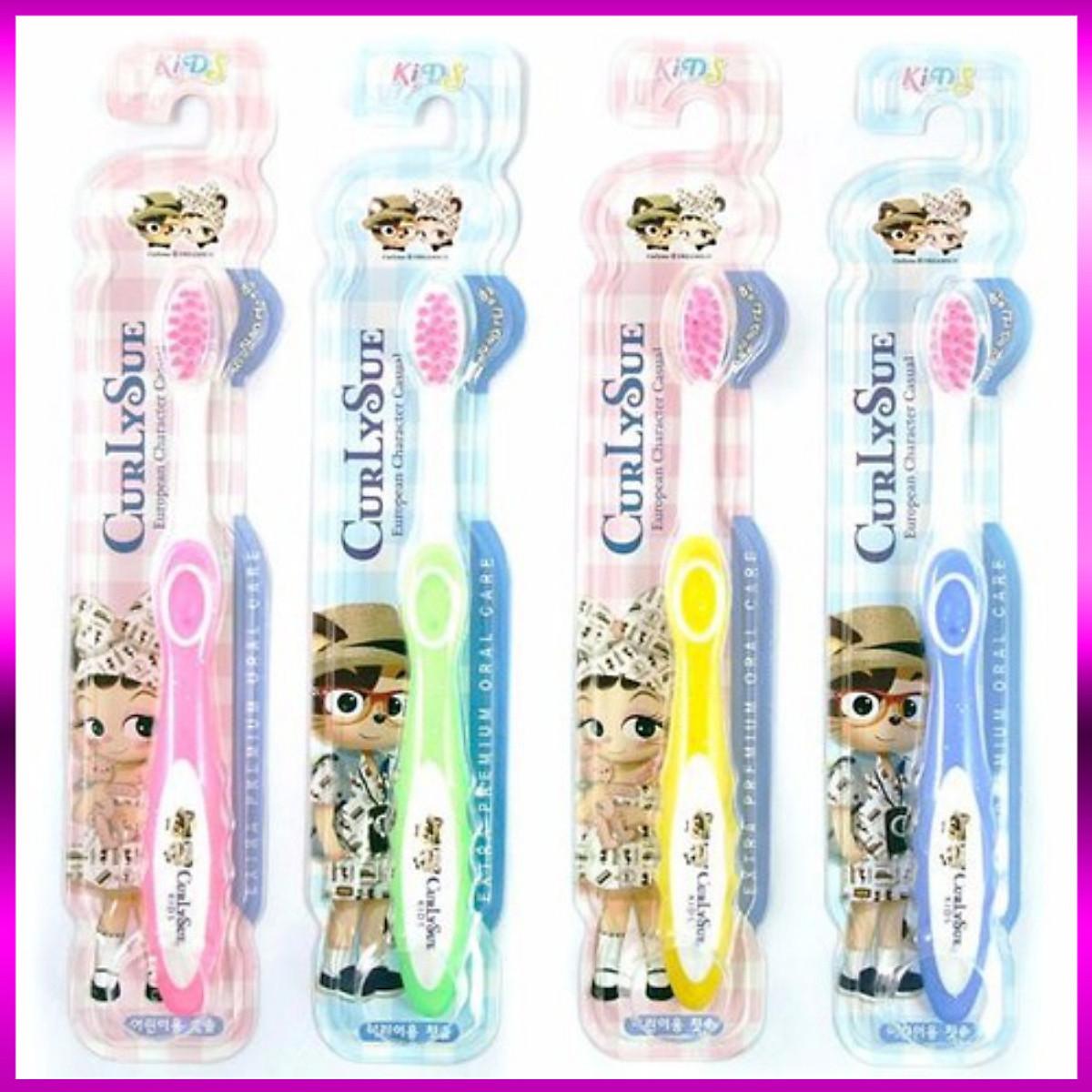 Combo 4 Bàn chải đánh răng trẻ em Curly Sue nhập khẩu Hàn Quốc (Dành cho bé từ 3 đến 8 tuổi)
