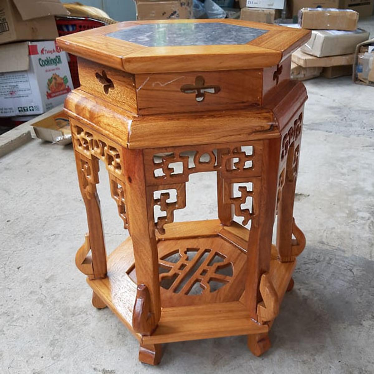 Ghế đôn lục giác cao 60cm , mặt ghế 32cm, kết hợp giữa gỗ và đá, - 1