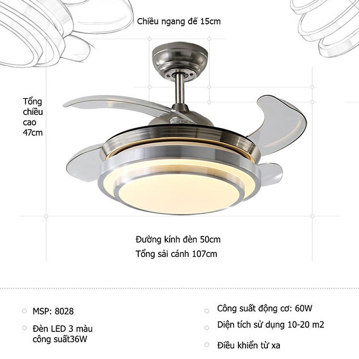Quạt đèn trần cao cấp có điều khiển TOP192 9