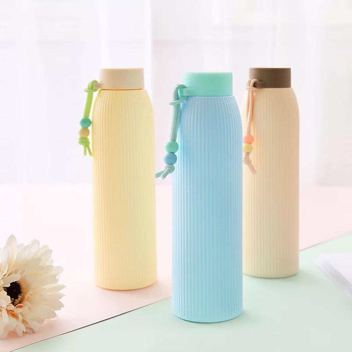 Bình Nước Thủy Tinh Giữ Nhiệt Bọc Nhựa 420ml (Giao màu Ngẫu Nhiên) 1