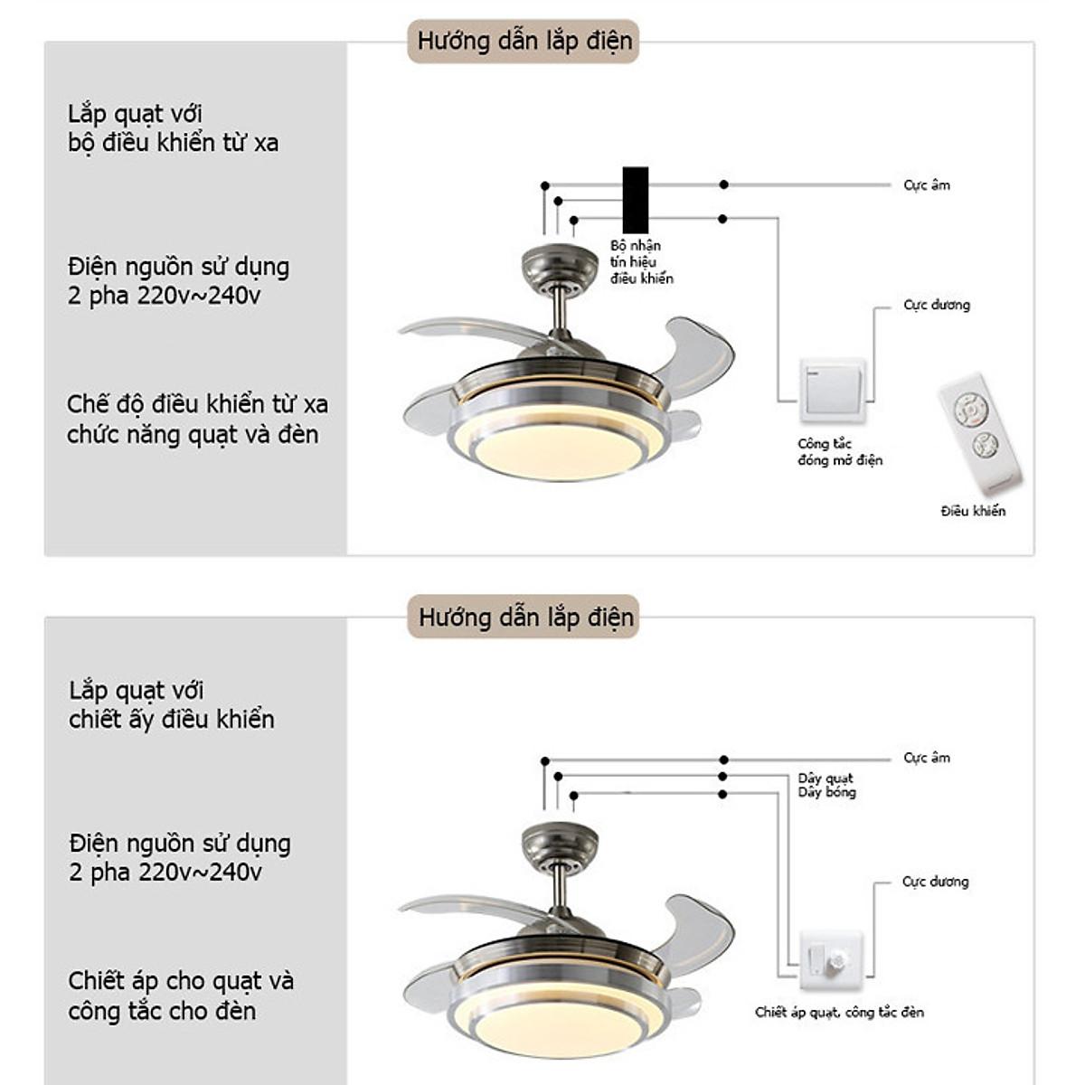 Quạt trần - Quạt trần kèm đèn trang trí - 5