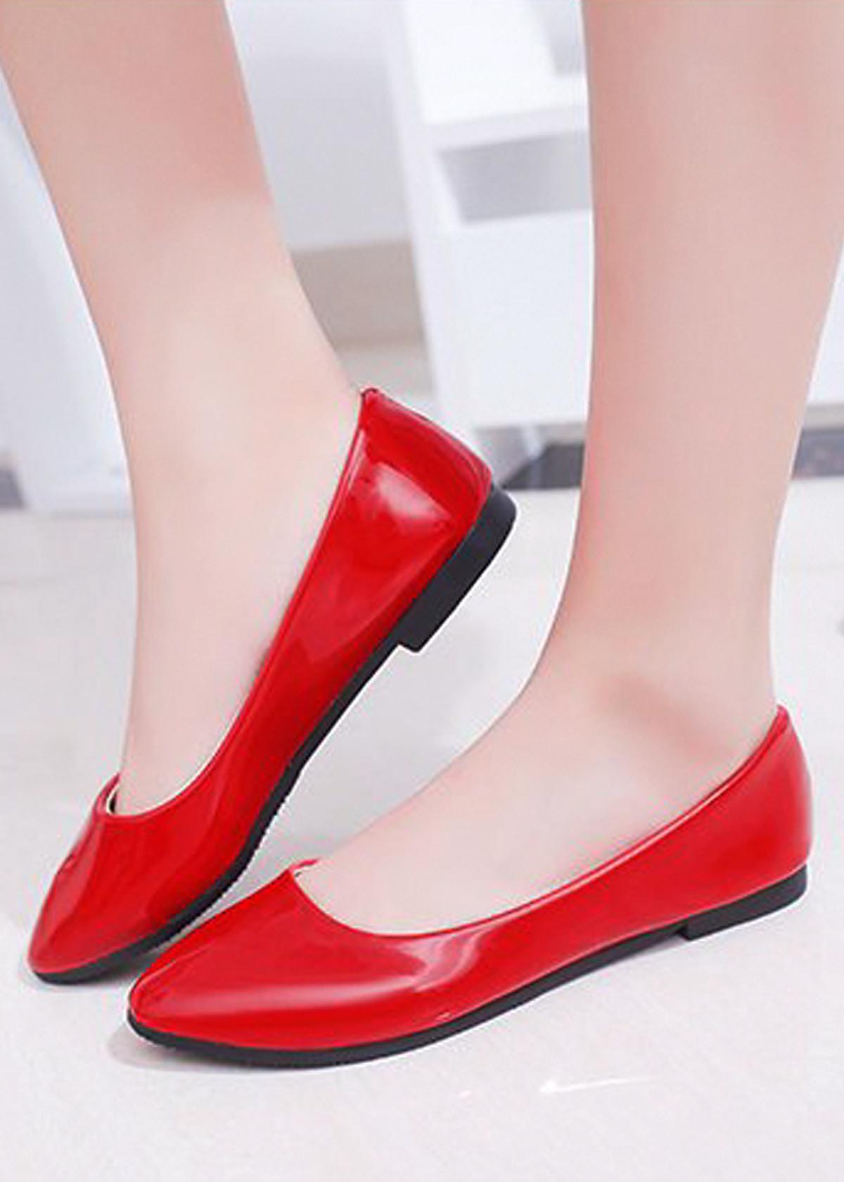 Giày búp bê da bóng mềm không đau chân , dáng chuẩn 96309 23