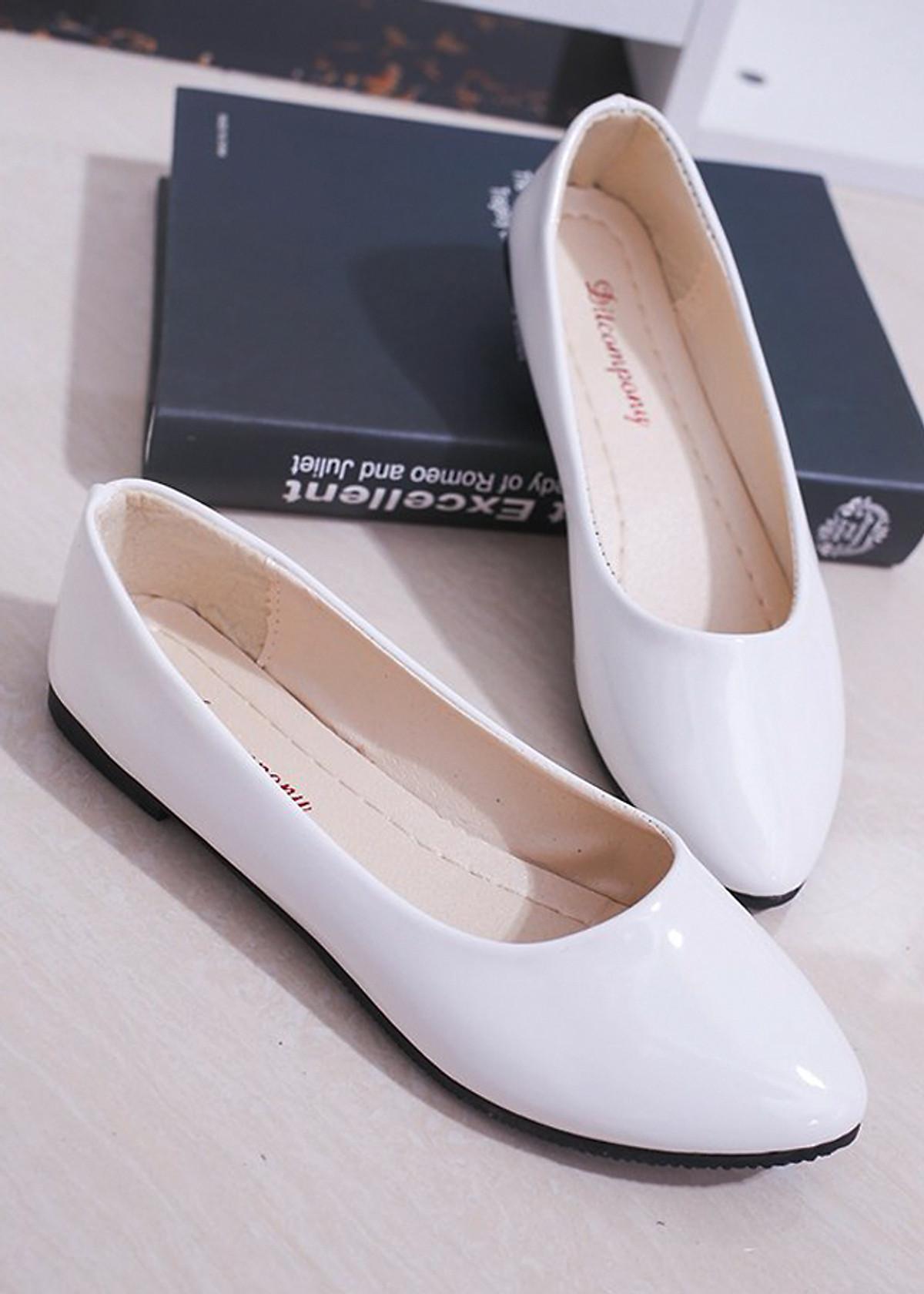 Giày búp bê da bóng mềm không đau chân , dáng chuẩn 96309 18