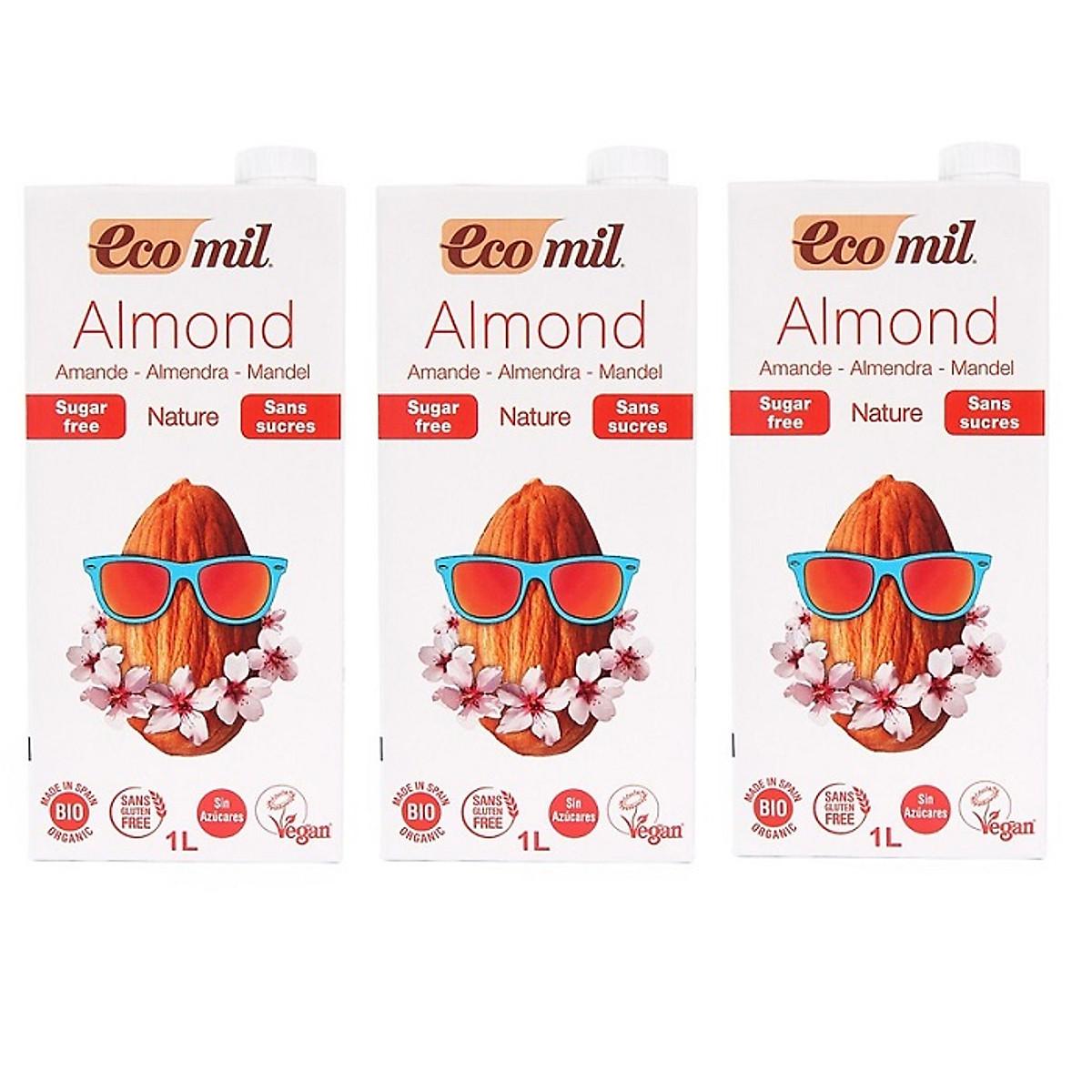 Nước hạnh nhân không đường hữu cơ Ecomil (1L) -  Lốc 3 hộp