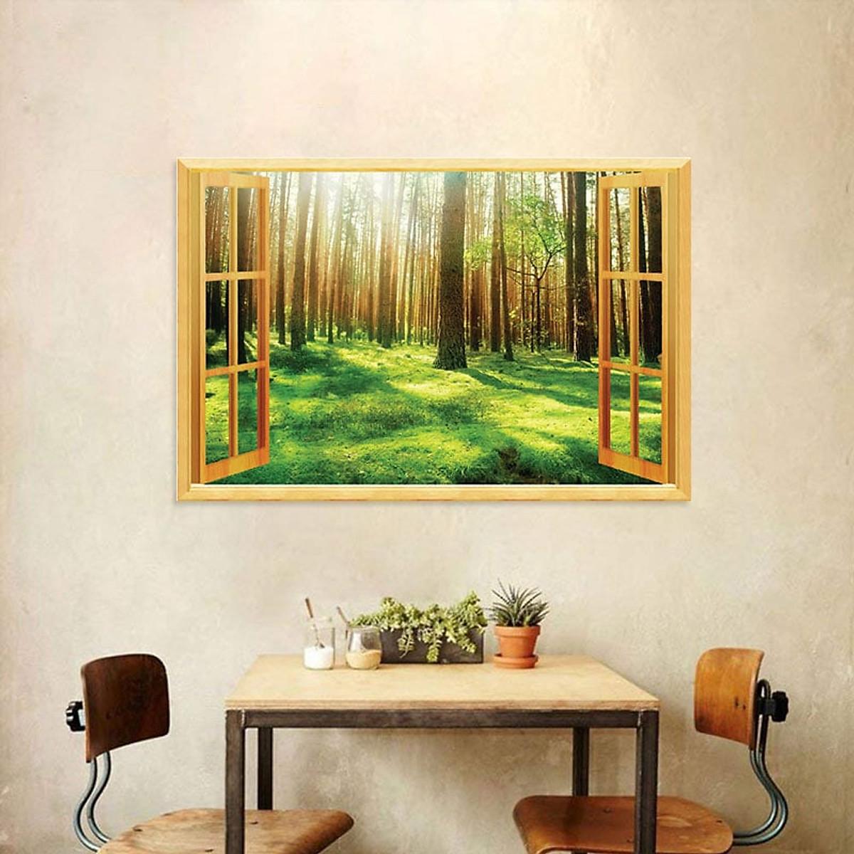Decal cửa sổ Rừng lá xanh WD118 | Decal dán tường PVC cao cấp - 3