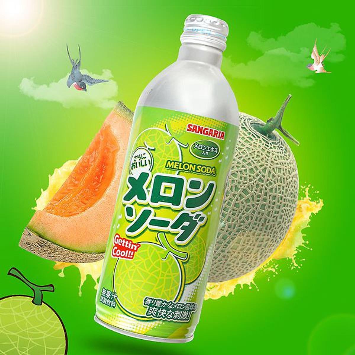 Combo 6 chai Nước Soda Sangaria Melon 500gr (Vị Dưa lưới) | Tiki