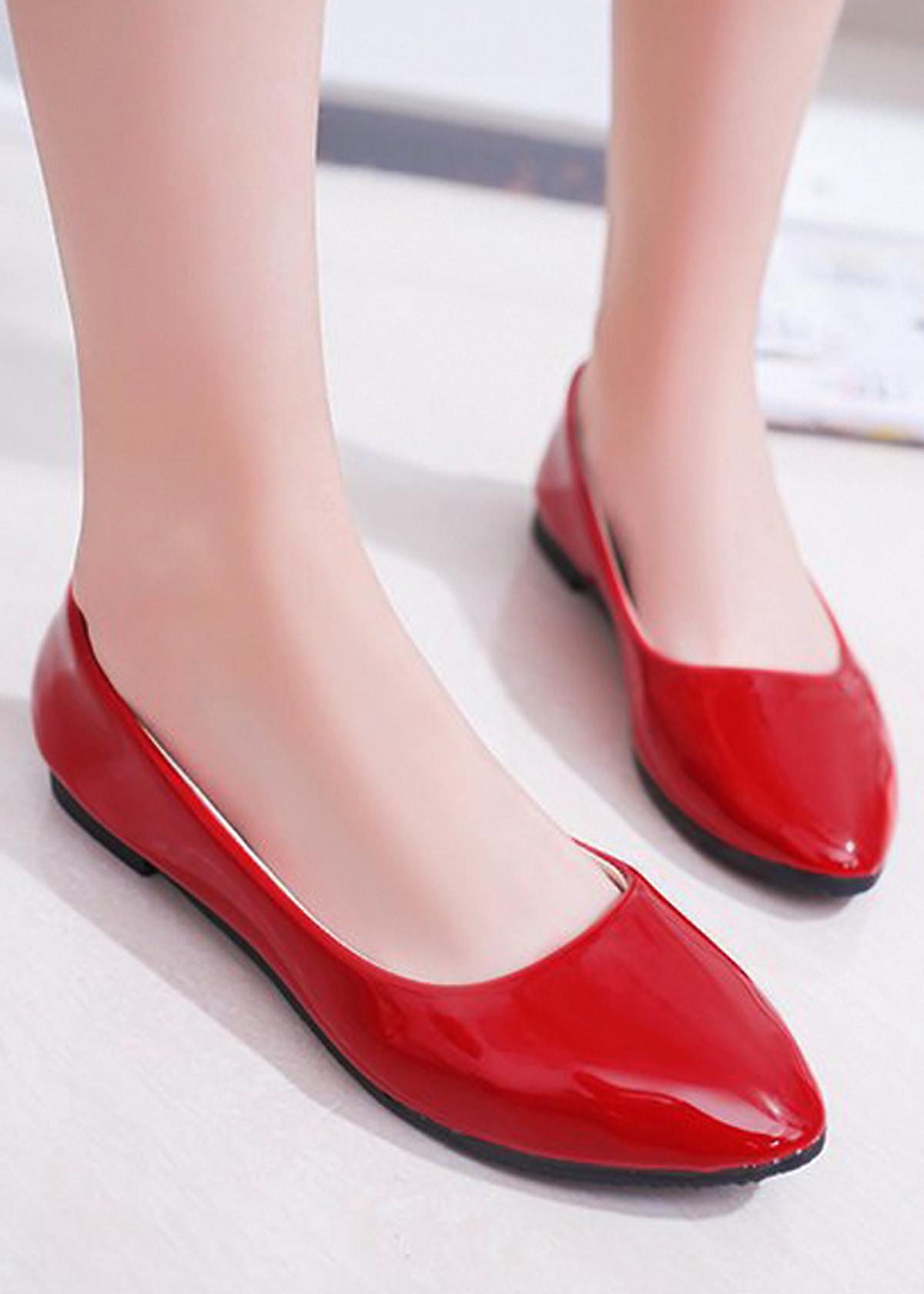 Giày búp bê da bóng mềm không đau chân , dáng chuẩn 96309 - 1