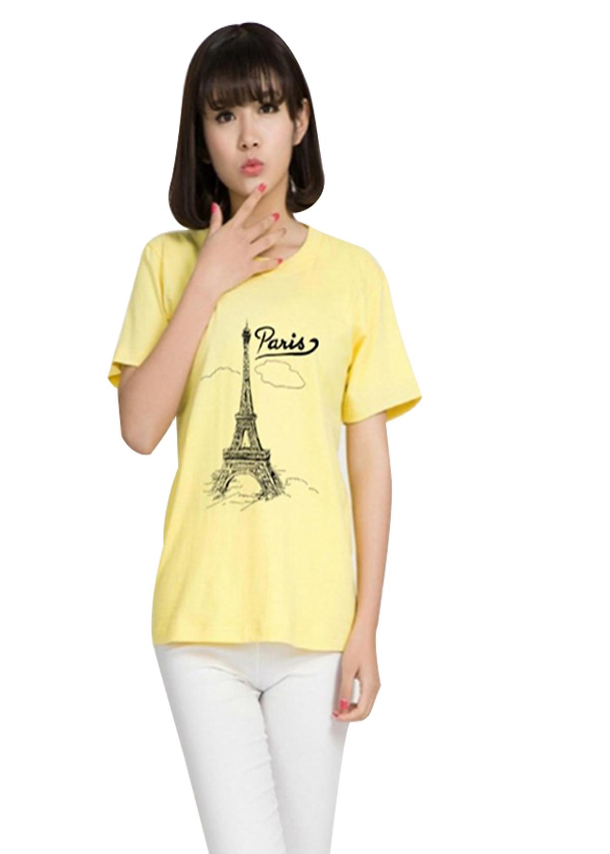 Áo thun nữ paris mây vàng nhạt d641 thương hiệu T&d