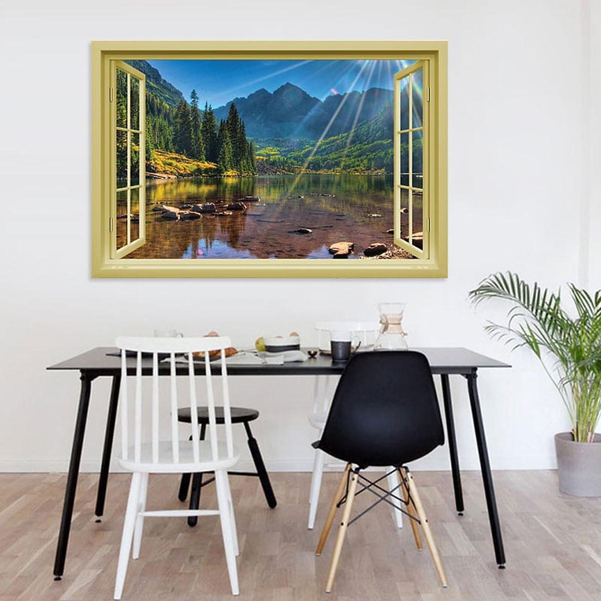 Decal cửa sổ  Cánh rừng và hồ nước châu Âu WD119 | Decal dán tường PVC cao cấp - 4