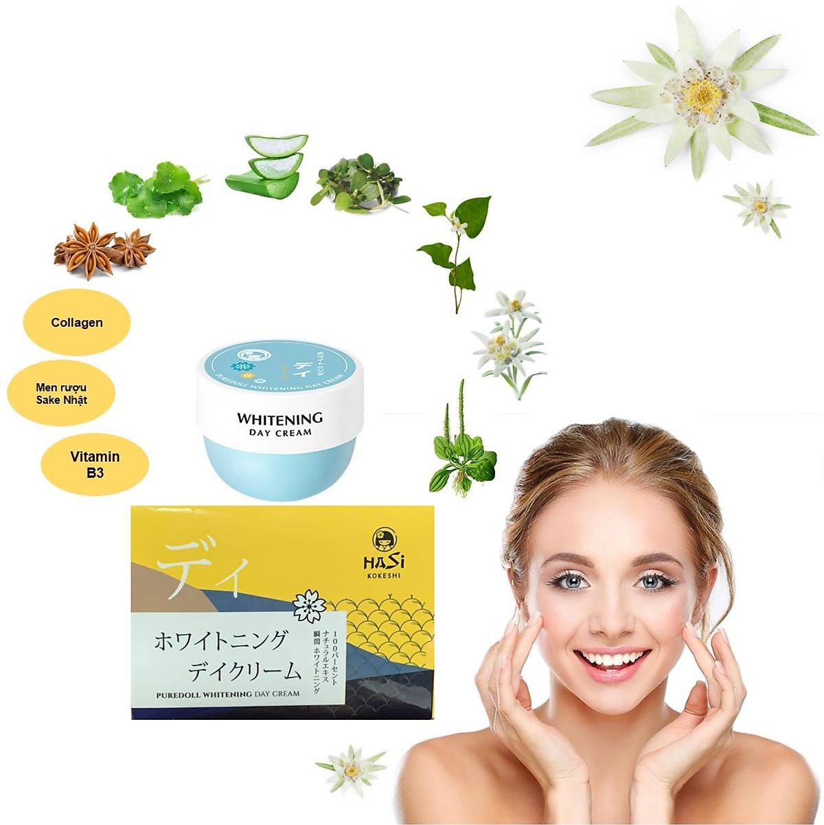 Bộ Dưỡng Da Ban Ngày & Ban Đêm Hasi Kokeshi Puredoll Whitening Day Cream &  Night Cream   Tiki