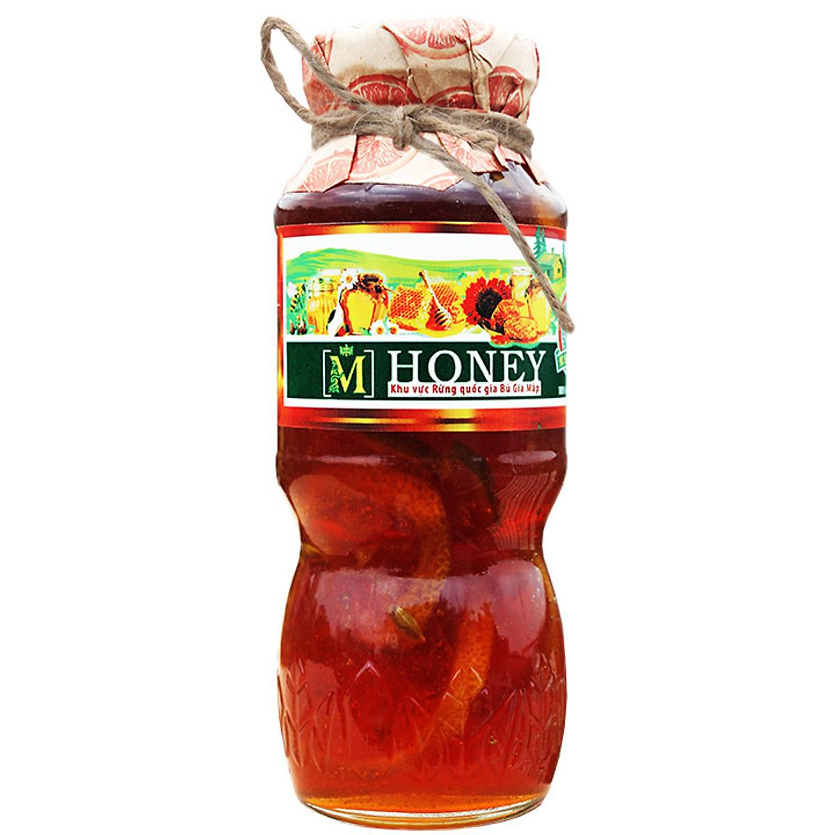Mật ong chanh đào - Trị ho, giảm cân, đẹp da - 200ml, chai thủy tinh cao cấp sang trọng