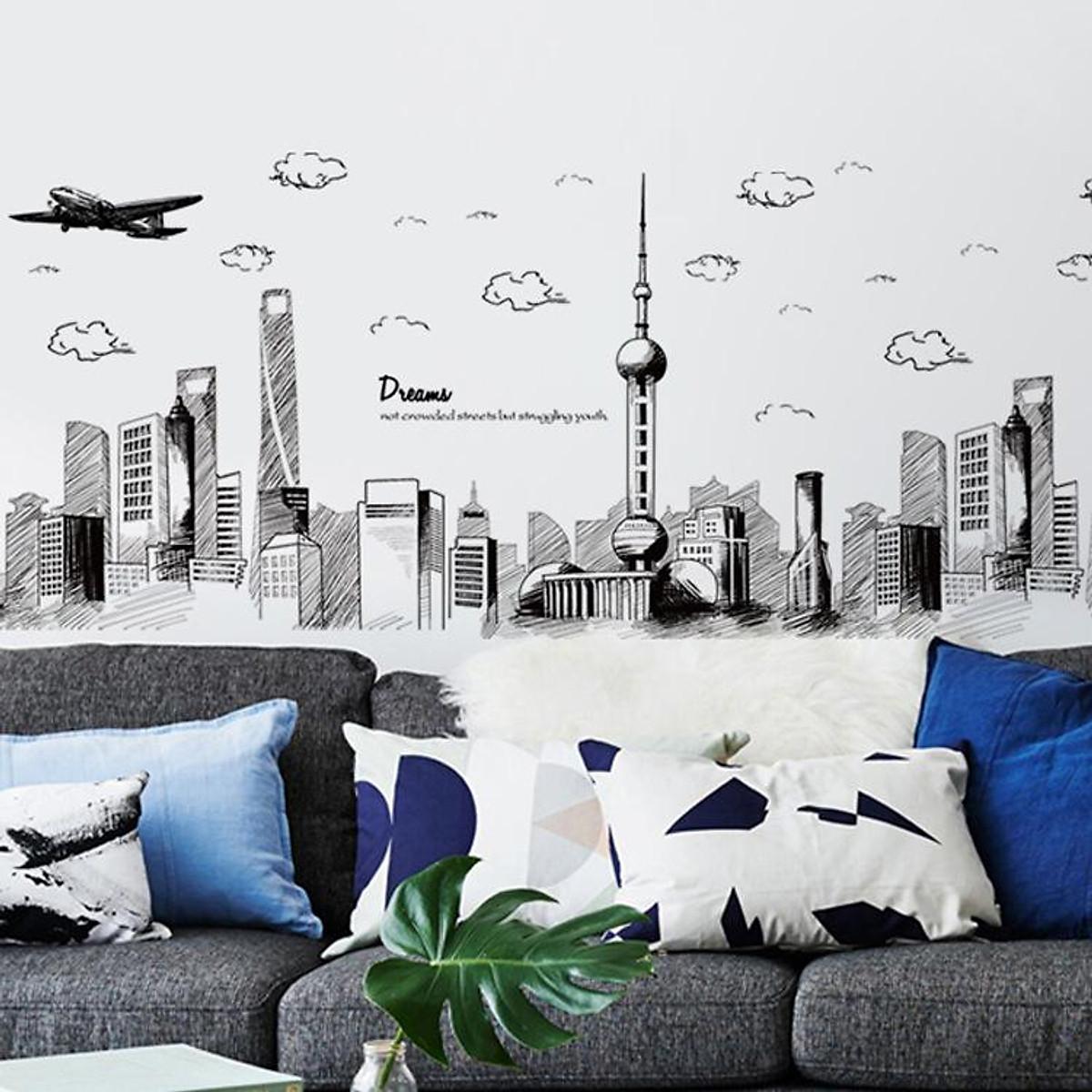 Decal dán tường kết hợp Bầu trời đêm Dubai XH5206+xc9001+xc9002 [ Size Lớn ] - 2