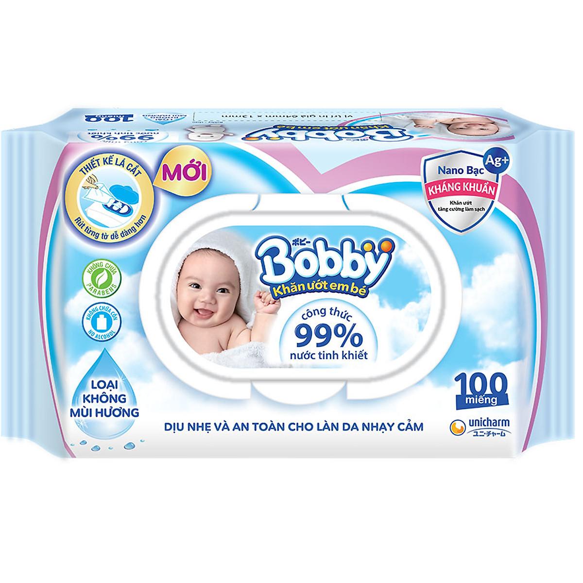 Khăn Ướt Bobby Không Mùi (100 Miếng) | Tiki.vn