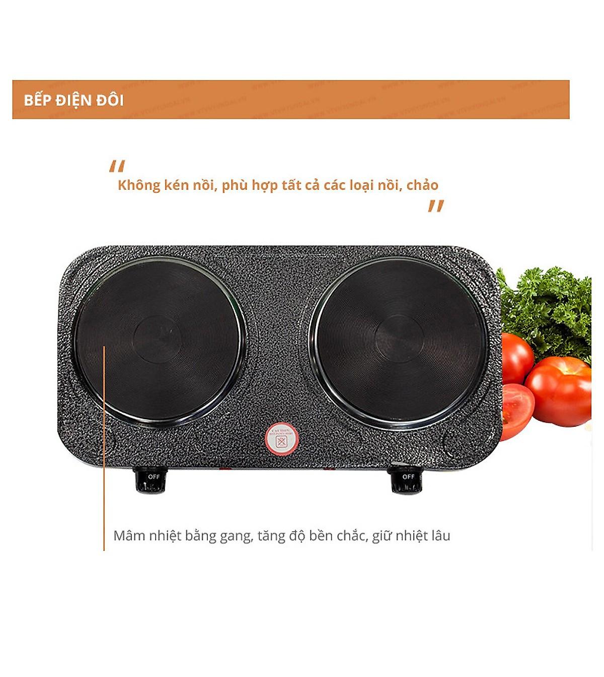 Bếp điện đôi Perfect PF-HP789 - 2000W - Hàng Chính Hãng | Tiki Trading