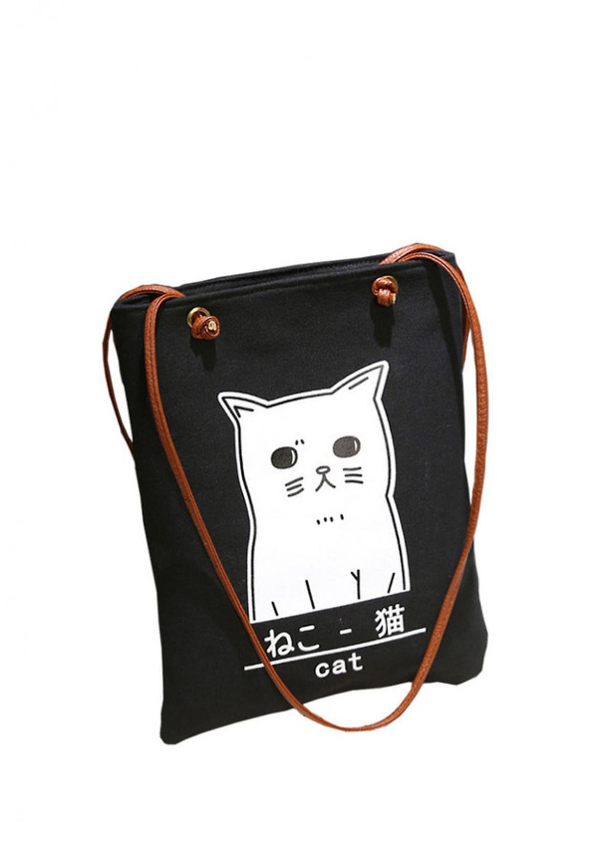 Túi xách tote thời trang vải bố họa tiết mèo con BOTUSI