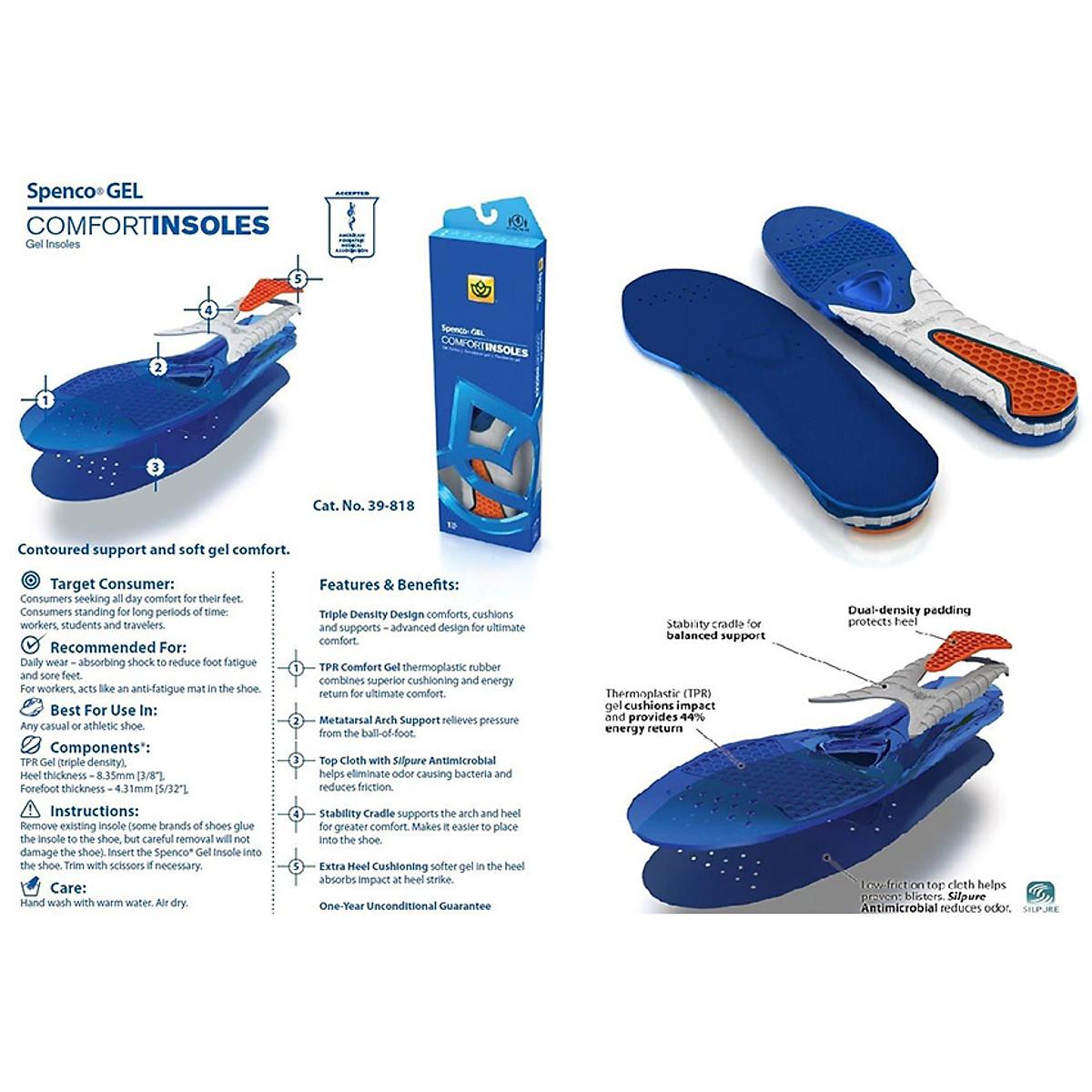 Miếng lót giày hỗ trợ đau gót Spenco Gel Comfort - Mỹ (size 0) - 2
