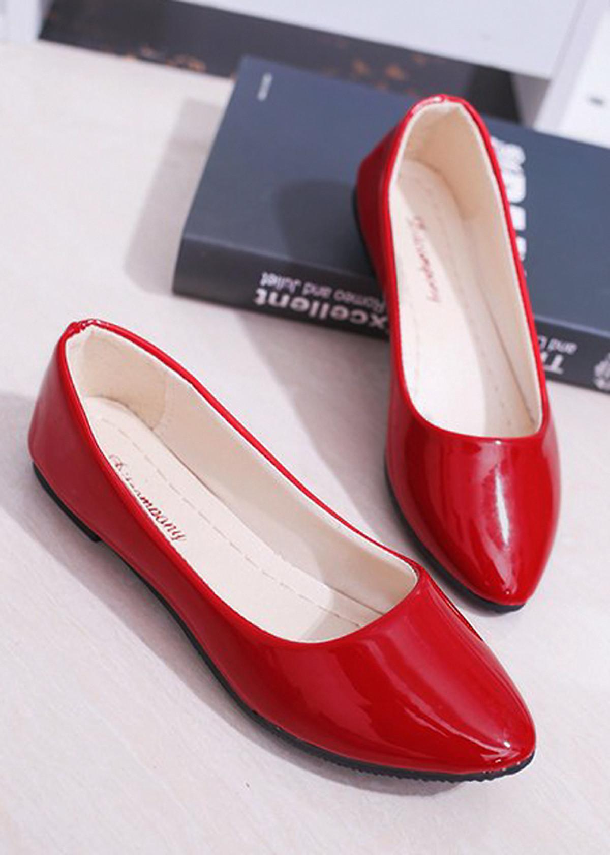 Giày búp bê da bóng mềm không đau chân , dáng chuẩn 96309 45