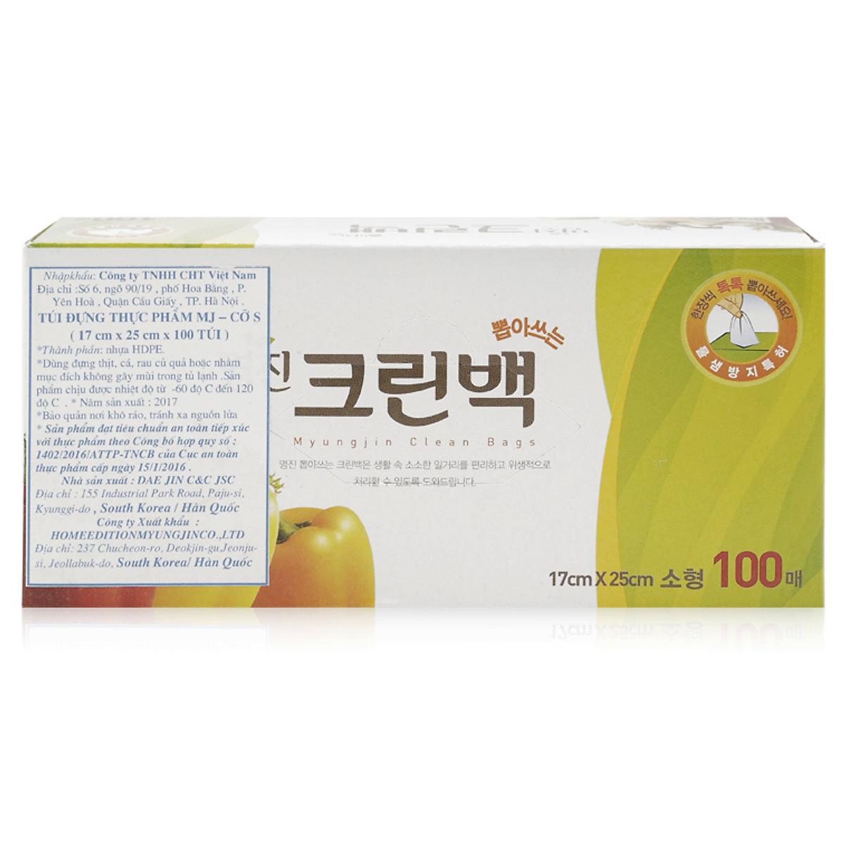 Bộ 100 túi đựng thực phẩm Myungjin sinh học (size 17 x 24cm) cao cấp Hàn Quốc