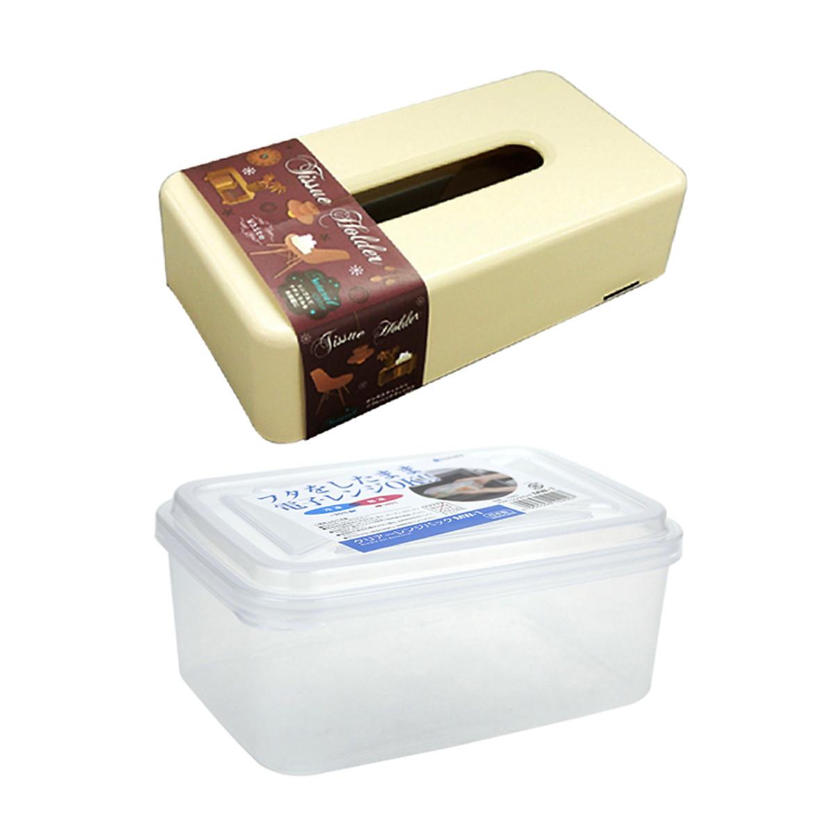 Hình đại diện sản phẩm Combo Hộp đựng thực phẩm cao cấp bỏ lò vi sóng + Hộp Chữ Nhật Đựng Giấy Ăn (Màu Be) - Nội Địa Nhật Bản