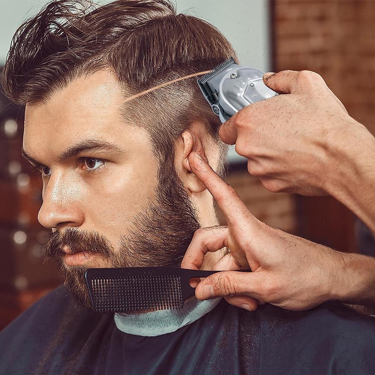 tông đơ cắt tóc chuyên ngiệp vỏ thép nguyên khối SURKER K9S pin lithium  2500mAh tặng cữ 1,5 và 4,5mm