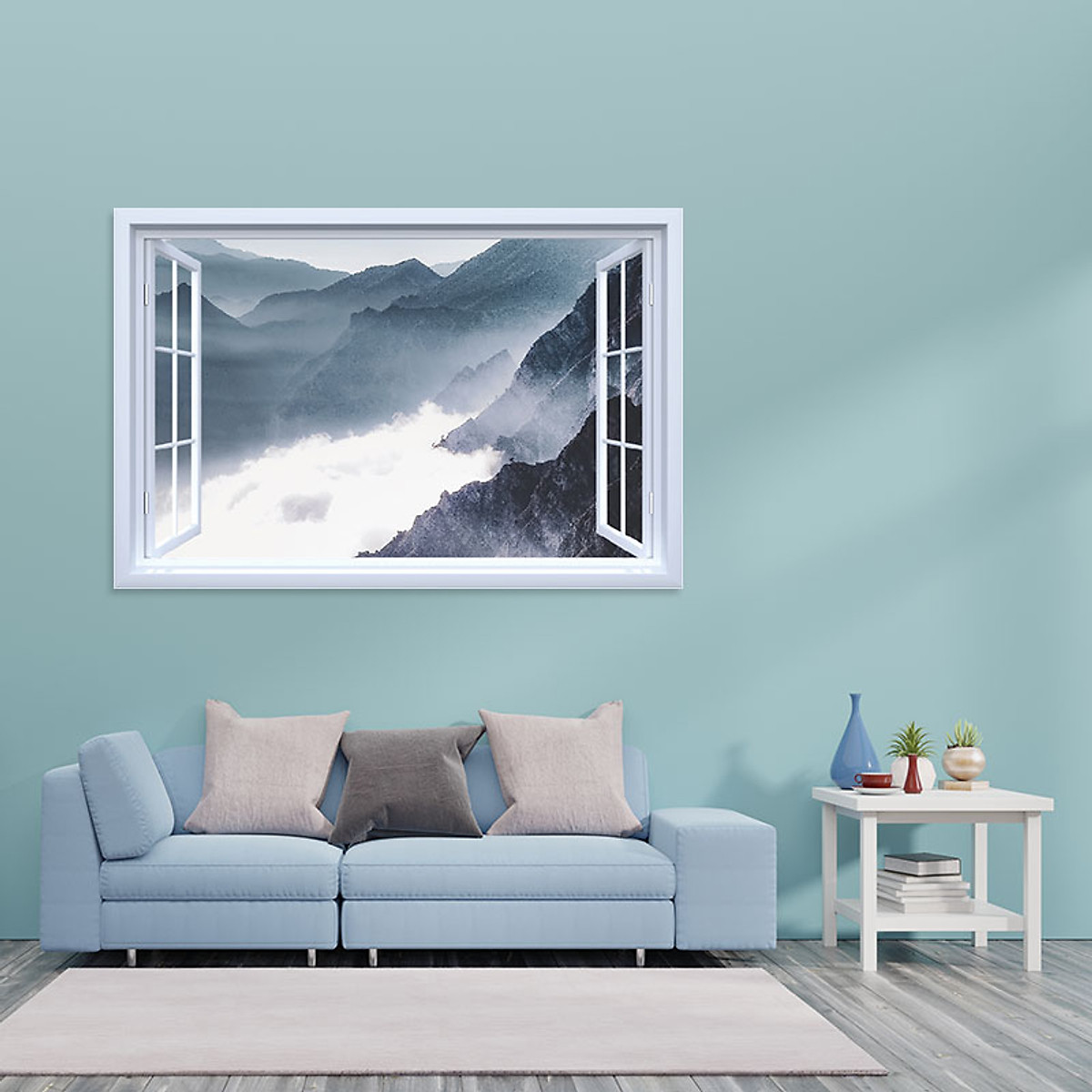 Decal cửa sổ Mây và núi tuyết WD129 | Decal dán tường PVC cao cấp - 5
