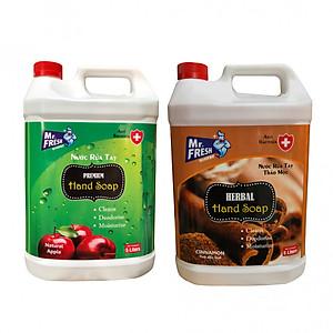 Combo 2 can Nước rửa tay khử mùi Mr.Fresh 5L Hương Quế & Hương Táo (5l/can) [QC-Tiki]