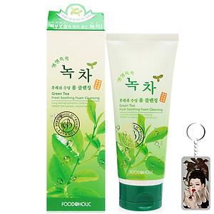 Sữa rửa mặt trà xanh Foodaholic Green Tea Foam Cleansing Hàn Quốc 180ml tặng kèm móc khoá