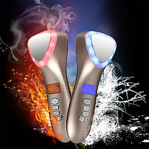 Búa massage mặt nóng lạnh, điện di làm trẻ hóa da ion D002 - 4in1, pin sạc [QC-Tiki]