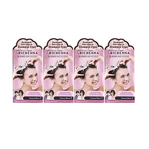 Combo 4 hộp Thuốc Nhuộm Tóc Phủ Bạc Dạng Dầu Gội Richenna EZ Speedy Hair màu đen tự nhiên 60G [QC-Tiki]