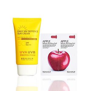 Combo Kem chống nắng kiểm soát dầu Beauskin Daily UV Deffence và Tẩy da chết sáng da sạch mụn Apple White Peeling Gel Minisize - Hàn Quốc Chính Hãng [QC-Tiki]