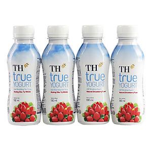 Lốc 4 Chai Sữa Chua Uống Tiệt Trùng Hương Dâu TH True Yogurt 180ml