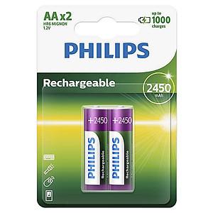 Pin Sạc Philips NiMH AA 2450mAh R6B2A245 (2 Viên AA)