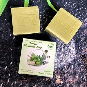 Coconut handmade soap - Xà bông Mù u (3 bánh - 100 gr/ 1 bánh) - Adeva Naturals - Xà phòng handmade với thành phần từ thiên nhiên, an toàn dịu nhẹ, cho làn da mềm mại - Không gây khô rít da [QC-Tiki]